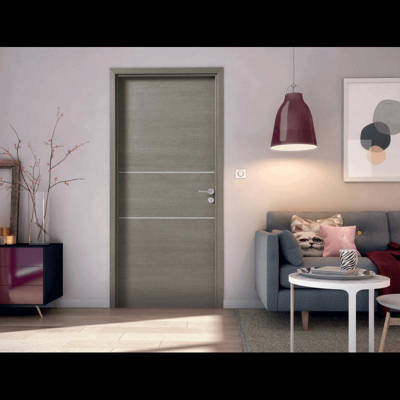 porte int rieure effet bois structur avec 2 inserts alu. Black Bedroom Furniture Sets. Home Design Ideas