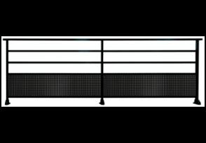 Garde-corps aluminium à barreaux et tôle perforée