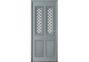 Porte de charme mi-vitrée avec grille