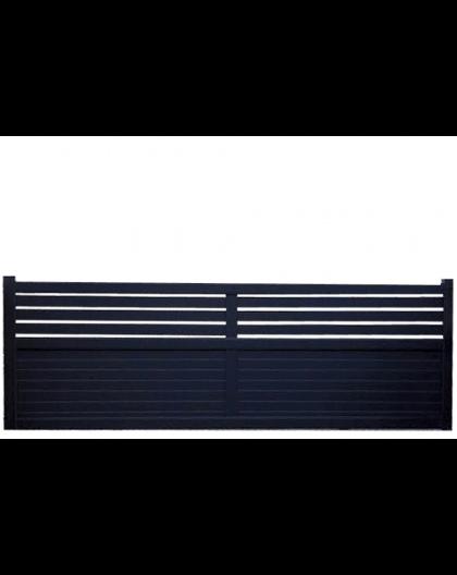 portail coulissant alu droit semi ajour lames horizontales. Black Bedroom Furniture Sets. Home Design Ideas