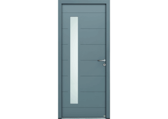 Porte d'entrée bois alu vitrage et rainurée