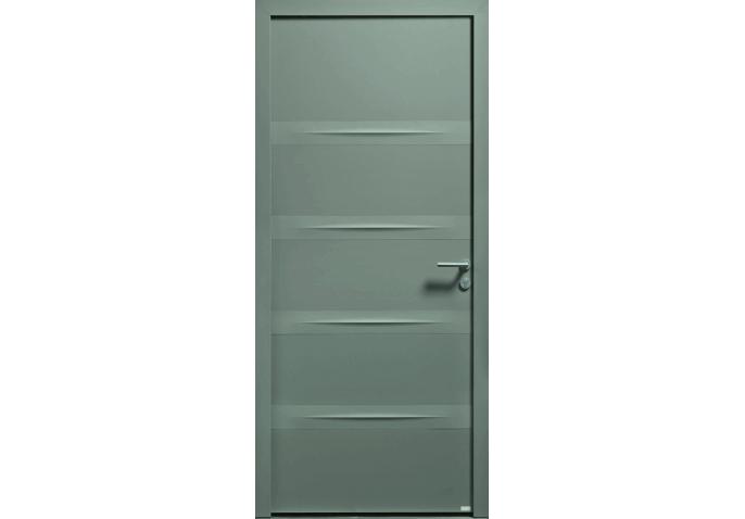 Porte d'entrée mixte pleine avec reliefs horizontaux