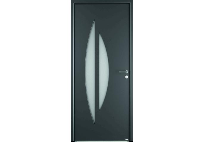 Porte d'entrée mixte avec 2 vitrages demi-lune