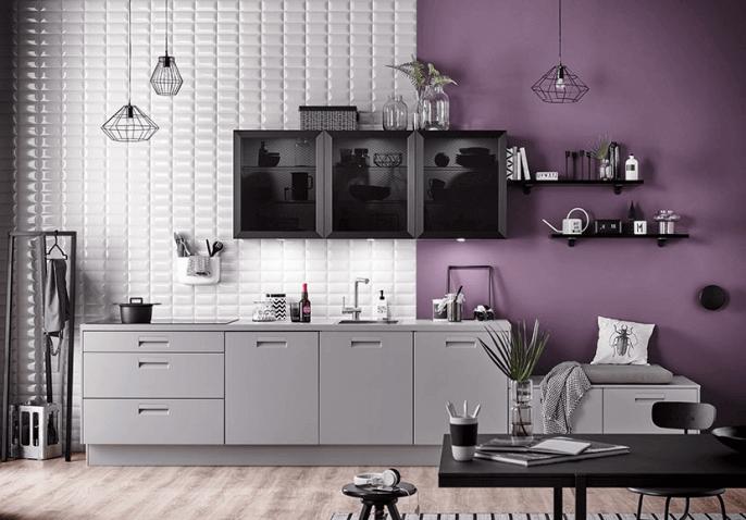 Cuisine sur mesure équipée chroma violet