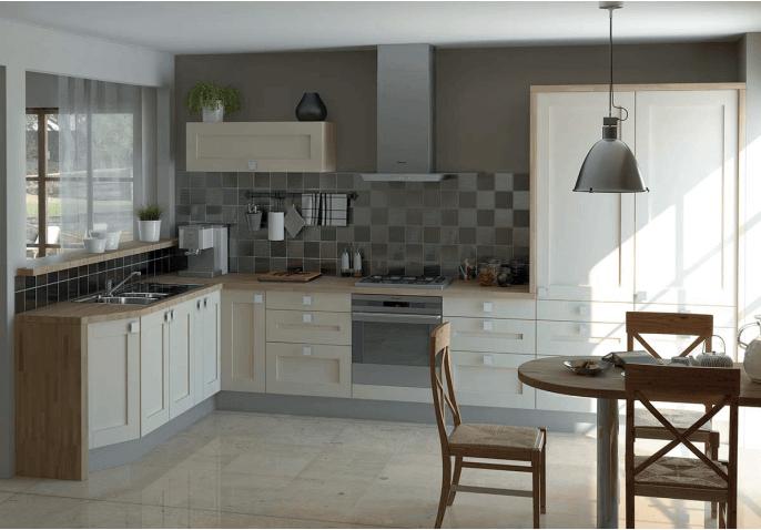 Cuisine équipée meubles à cadre blanc