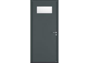 Porte de service acier avec vitrage rectangulaire