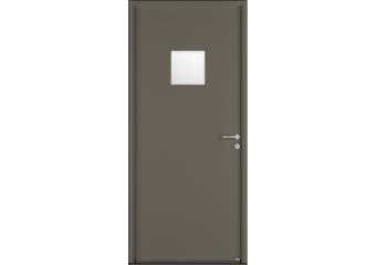 Porte de service acier avec vitrage sablé carré