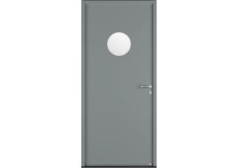 Porte de service acier avec vitrage rond hublot