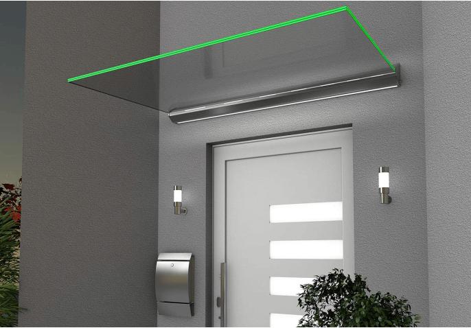 Marquise vitrée avec éclairage LED
