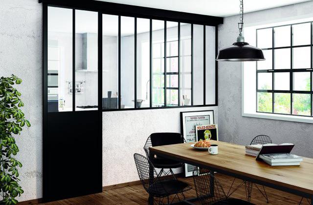 Verrière porte coulissante loft salle à manger cuisine