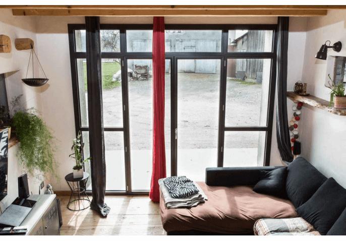 Châssis composé avec 2 portes fenêtres battantes en alu à Groisy Annecy