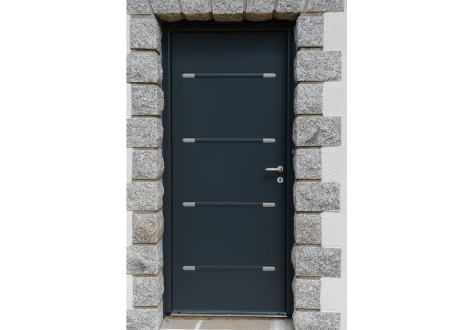 Porte d'entrée bicoloration en alu avec inserts inox, porte fenêtre et fenêtre oscillo battante en PVC blanc